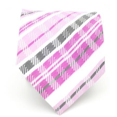 Buy KA5436 Purple/ Pink Glen Neck Tie Handkerchief Set