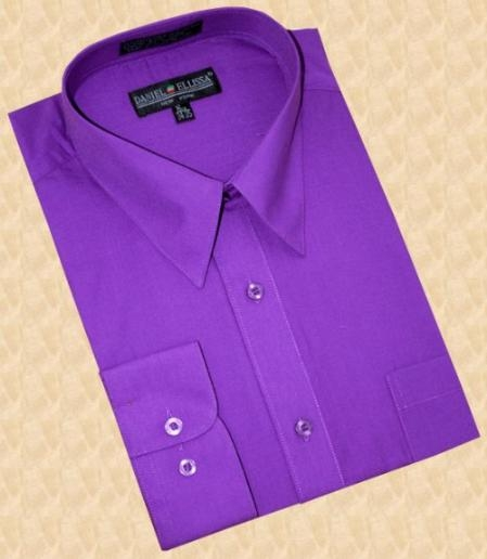SKU#DG404 Purple Cotton Blend Dress Shirt With Convertible Cuffs $39