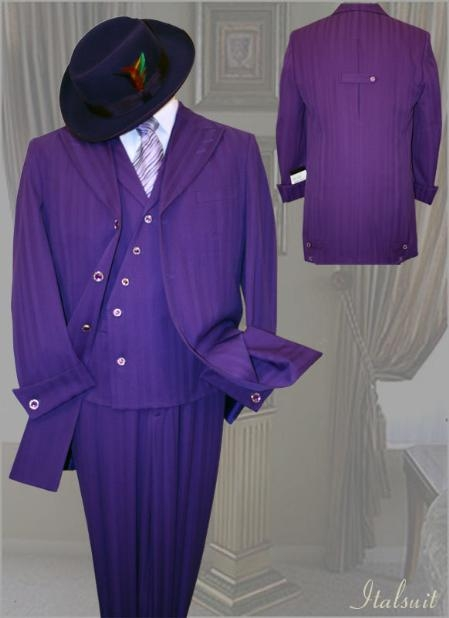SKU#SP462 Purple Mens Fashion Tone on Tone Pattern Suit 3PC With Vest & Wide Leg Pants $299