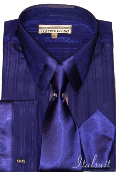 SKU#PM454 Purple Satin Shirt Tie and Hankie Set $79