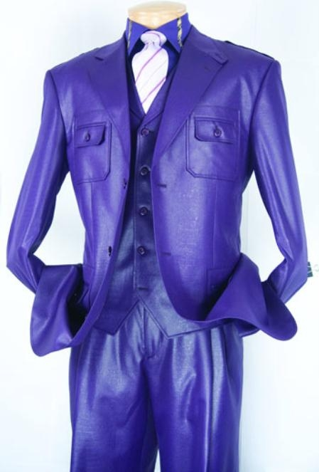 SKU#PG396 Purple Super 150s Mens Fashion Suit $149