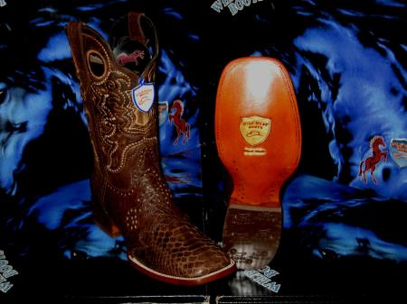Wild West Genuine Python ~ Snake Square Brown Rodeo Western Cowboy Boot