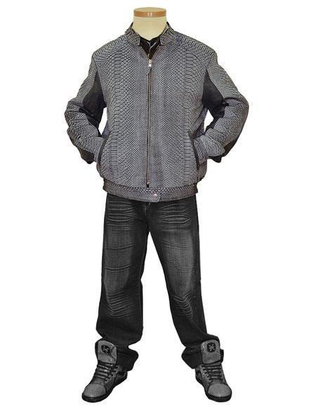G-Gator Mens Genuine Python Snake Skin/Leather Grey Jacket