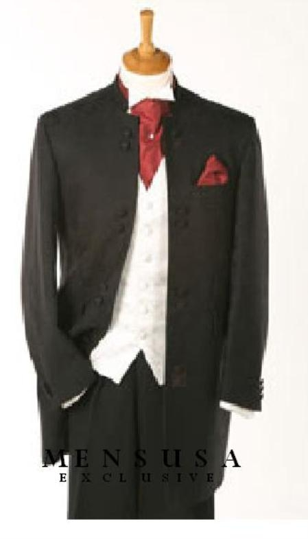 SKU# GG8B Quality Black Mandarin Collar Tuxedo Suit Light Weight + Any Color Vest $295