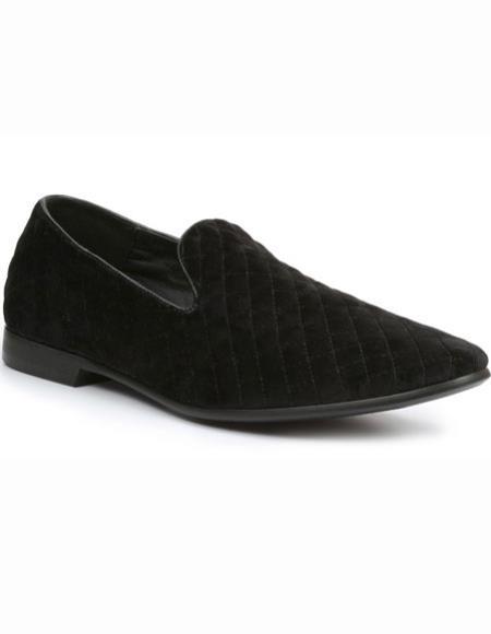 SKU#SM2724 Mens Black Quilt Velvet Slip On Tuxedo Formal Looking Loafer Shoes