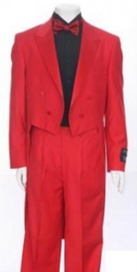 SKU#MUA201/TUX-RED Red Tailcoat Peak Lapel Mens Tuxedo Pre Order Collection