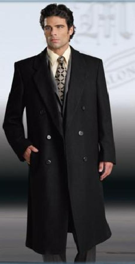 SKU#SSR77 Man_Bent Fully Lined Double Breasted 6 buttonss Mens 70/30 Poly/Viscose Blend Long Topcoats ~ overcoat