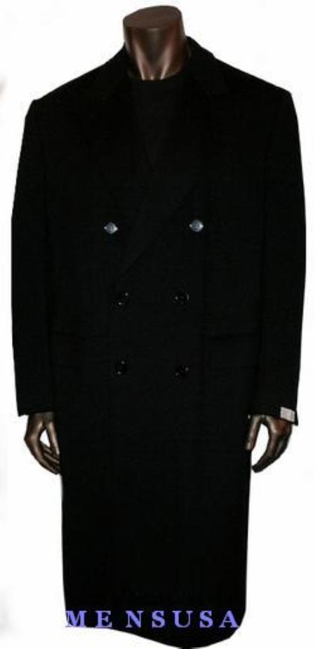 SKU#B878 Rafael Jet Black Double breasted long pea Double breasted coat style $250