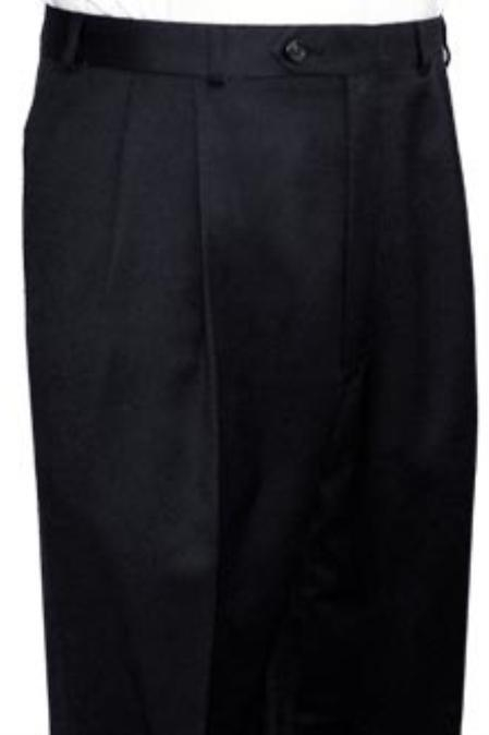 SKU#PNP834 Super Quality Dress Slacks / Trousers Black Pleated Pre-Cuffed Bottoms Pants