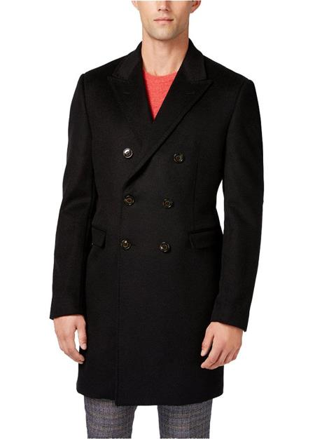 Mens Black Wool Blend Classic Fit  Double-Breasted Overcoat
