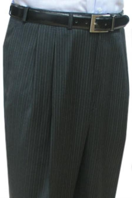 SKU#BDJ611Super Quality Dress Slacks / Trousers Charcoal Multi Stripe Double Reverse Pleat Mens Pants