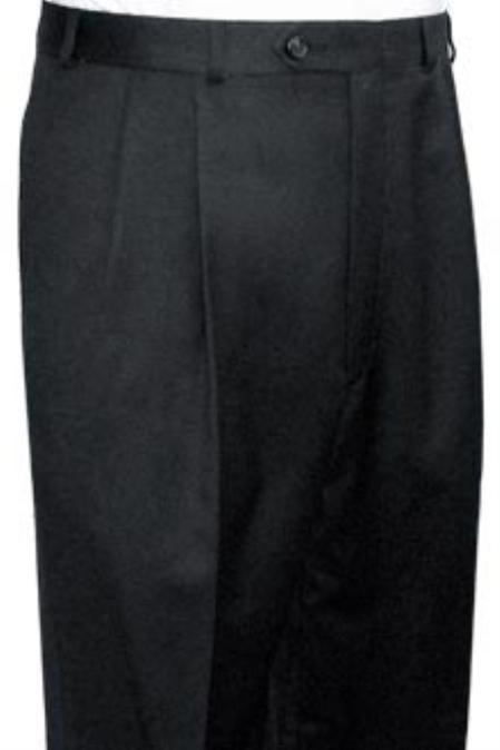 SKU#VAS712 Super Quality Dress Slacks / Trousers Dark Grey Pleated Open Bottom Mens Pants