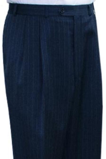 Super Quality Dress Slacks / Trousers Navy Blue Stripe Pleated Pre-Cuffed Bottoms Pants unhemmed unfinished bottom
