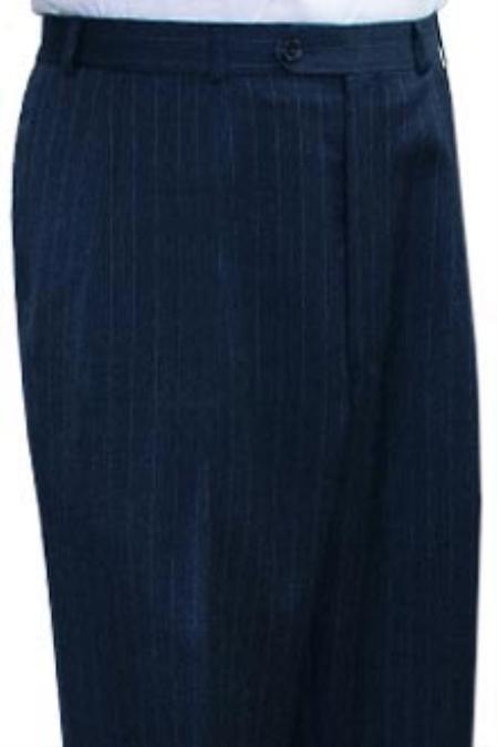 Ralph Lauren Navy Blue stripe Flat Front Open Bottom