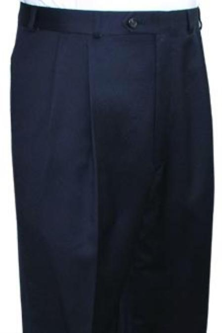 Super Quality Dress Slacks / Trousers Navy Pleated Pre-Cuffed Bottoms Pants unhemmed unfinished bottom