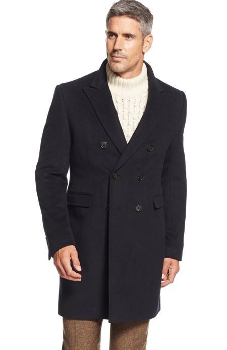 Designer Brand Mens Dress Coat Lawrenceville Long Mens Dress Topcoat -  Winter coat Double-Breasted Wool Blend Solid Overcoat