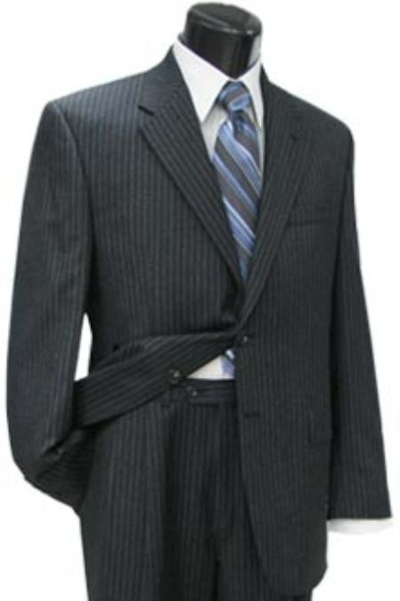 SKU#KFG110 Cotton Summer Light Weight 2 Button Cotton and Cashmere in a Charcoal Stripe Pleated Pant $255