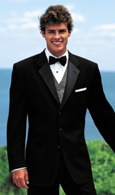 New Ralph Lauren 3 Button Black Notch Tuxedo with Pleated Pants $275