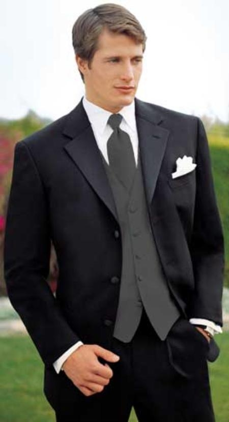 Big and Tall Sizes Satin Collar 3 Button Notch Tuxedo with Any Size Flat Front Pants $240