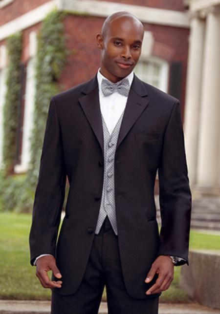 Big and Tall Sizes Satin Collar 3 Button Notch Tuxedo with Any Size Pleated Pants