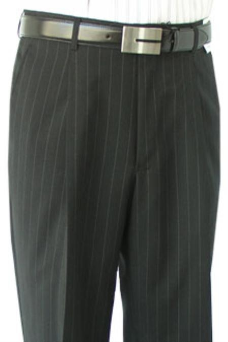 SKU#KOL881 Super Quality Dress Slacks / Trousers Black Stripe Pleated Pre-Cuffed Bottoms Pants
