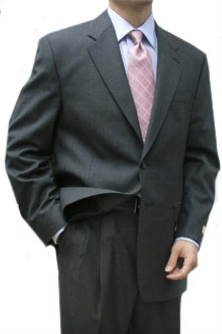 SKU#HAS341 Cotton Summer Light Weight Charcoal 2 Button Double Vent Double Pleat Pant $315