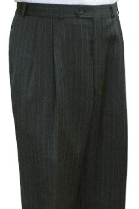 SKU#KBX732 Super Quality Dress Slacks / Trousers Grey Stripe Pleated Pre-Cuffed Bottoms Pants