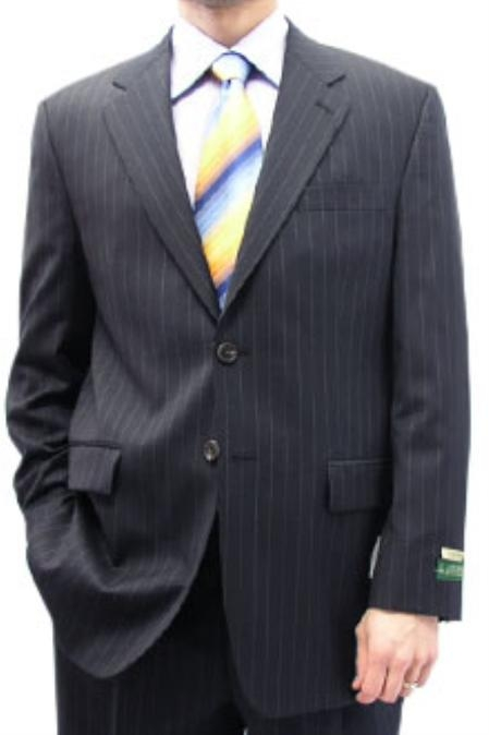 SKU#NAK233 Cotton Summer Light Weight Navy Stripe Single Breasted 2 Button Double Vent Suit Separates $259