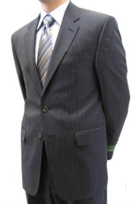 SKU#BQO455 Cotton Summer Light Weight Navy pin stripe Super 120s 2 button single breasted jacket $255