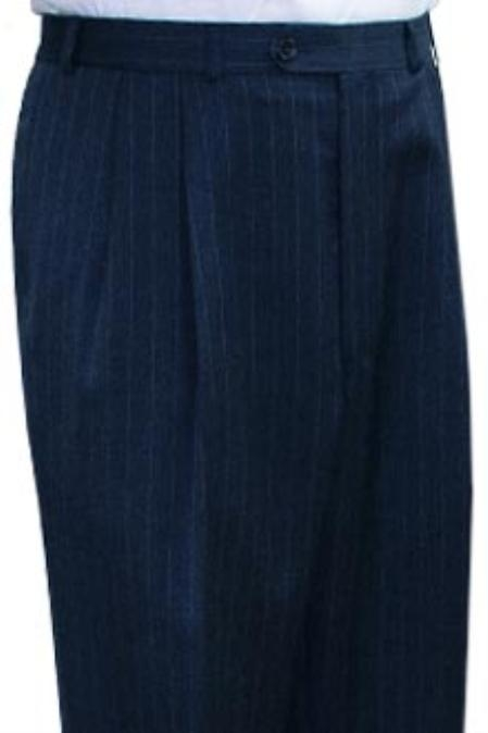 SKU#ESH611 Super Quality Dress Slacks / Trousers Navy Stripe Pleated Pre-Cuffed Bottoms Men