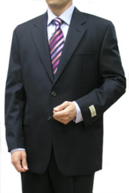 SKU#PRH143 Cotton Summer Light Weight Navy 2 Button Double Vent Double Pleat Pant 100% Fine Cotton $295