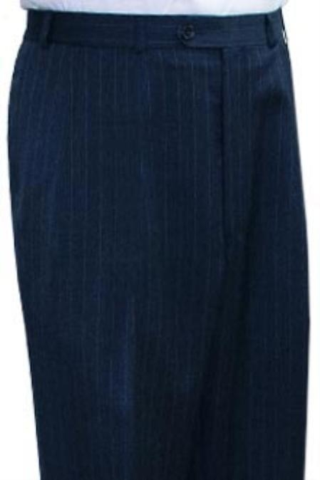 SKU#SBK821 Ralph Lauren Navy stripe Flat Front Open Bottom $105
