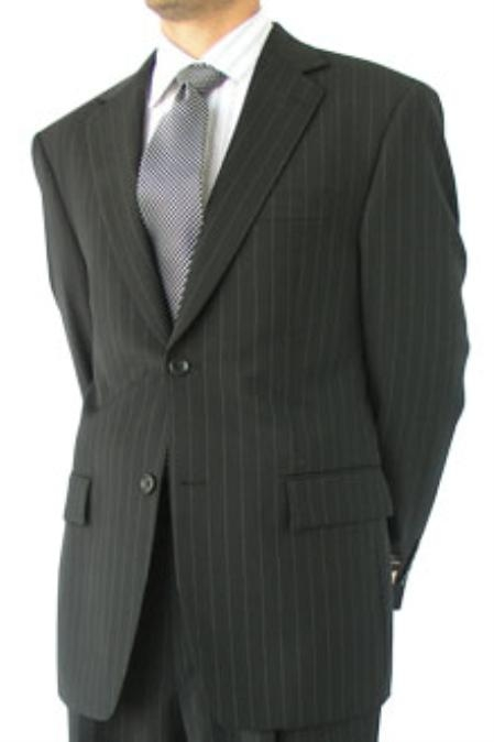 SKU#KAS811 Cotton Summer Light Weight Portly Black Stripe Single Breasted 2 Button Double Vent $259