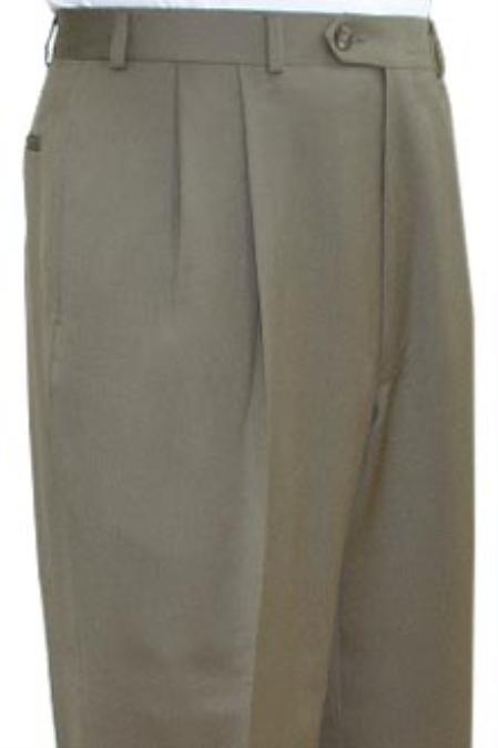 SKU#TEH931Super Quality Dress Slacks / Trousers Tan ~ Beige Pleated Pre-Cuffed Bottoms Pants