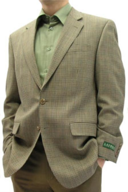 SKU#CAD121 Ralph Lauren Tan houndstooth with blue brown and olive natural stretch wool $185