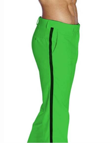 Mens Poly/Rayon Black Satin Stripe Classic Fit Lime Green Flat Front Tuxedo Pant