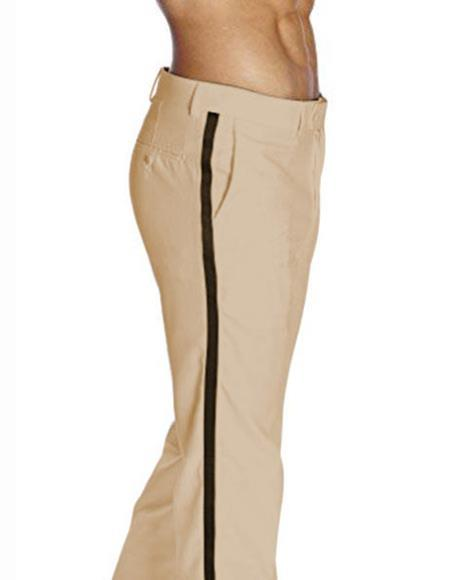 Men's Classic Fit Khaki ~ Tan With Black Satin Stripe Flat Front Poly/Rayon Solid Tuxedo Pant
