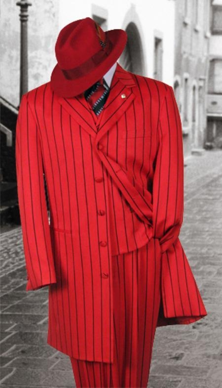 SKU# P1X21 Red And Black STRIP 3PC WIDE PINSTRIP FASHION ZOOT SUIT $185