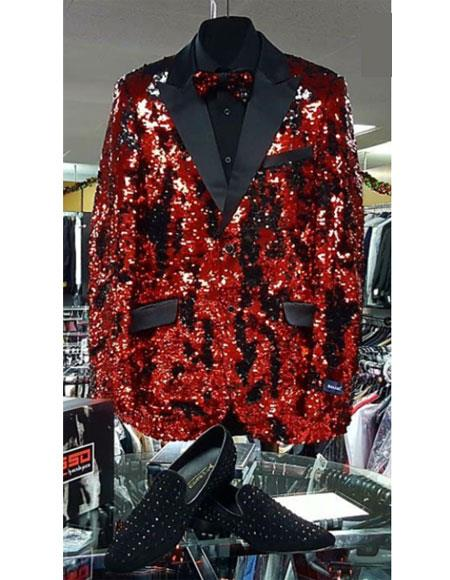 Fashion Men's red and black lapel sequin tuxedo shiny dinner jacket  - Red Tuxedo
