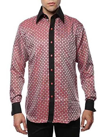 Geometric Red-Black Shiny Satin Floral Spread Collar Paisley Dress Club Clubbing Clubwear Shirts Flashy Stage Colored Two Toned  Woven Casual Mens Dress Shirt