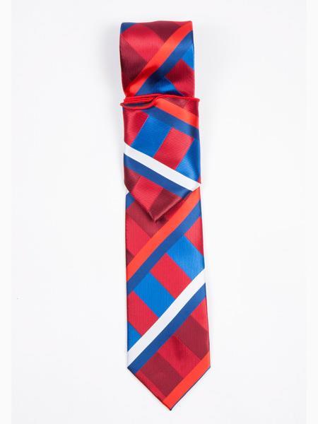 Buy SM3545 Men's Plaid Pattern Fashionable Neck Tie Red/Blue