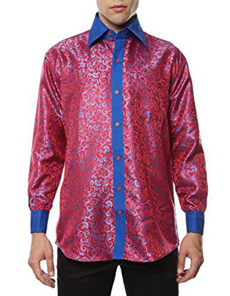 Shiny Satin Floral Spread Collar Paisley Dress Club Clubbing Clubwear Shirts Flashy Stage Colored Two Toned Woven Casual Red-Blue Mens Dress Shirt