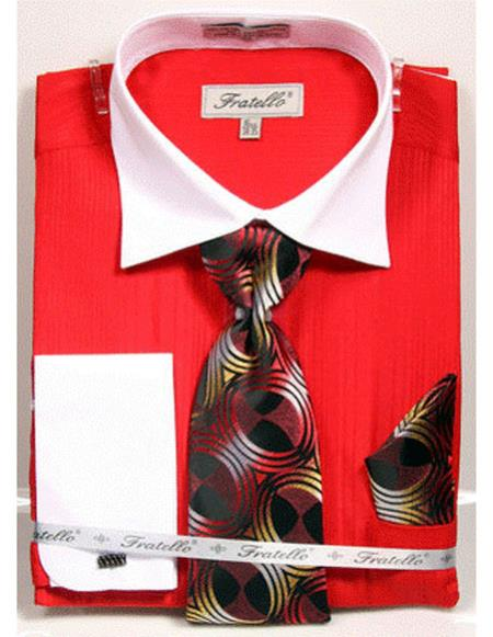 White Collared French Cuffed Red Shirt with Tie/Hanky/Cufflink Set Mens Dress Shirt