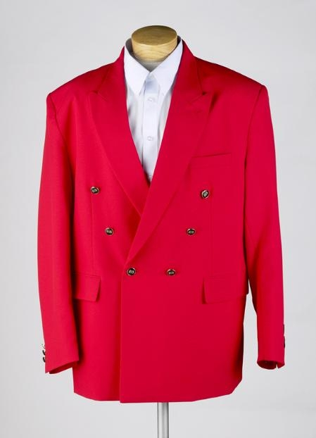 MENS RED Double Breasted BLAZER JACKET