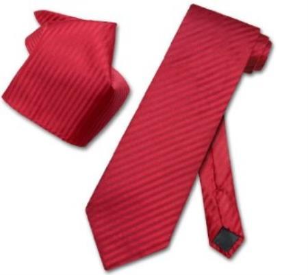 Buy RA5831 Red Striped NeckTie & Handkerchief Matching Neck Tie Set
