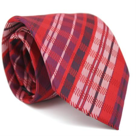 Slim Red Glen Classic Necktie with Matching Handkerchief - Tie Set