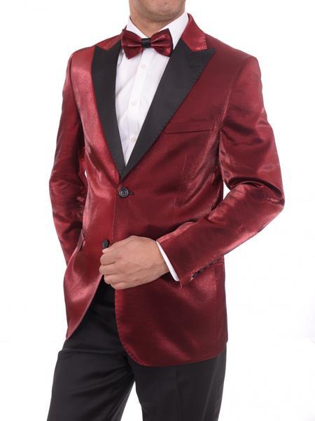 Men's Red 2 Button Slim Fit Solid Sharkskin Cheap Priced Blazer Jacket For Men Sportcoat