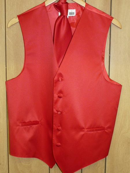 RED  GROOMSMEN DRESS TUXEDO WEDDING Vest ~ Waistcoat ~ Waist coat & TIE SET