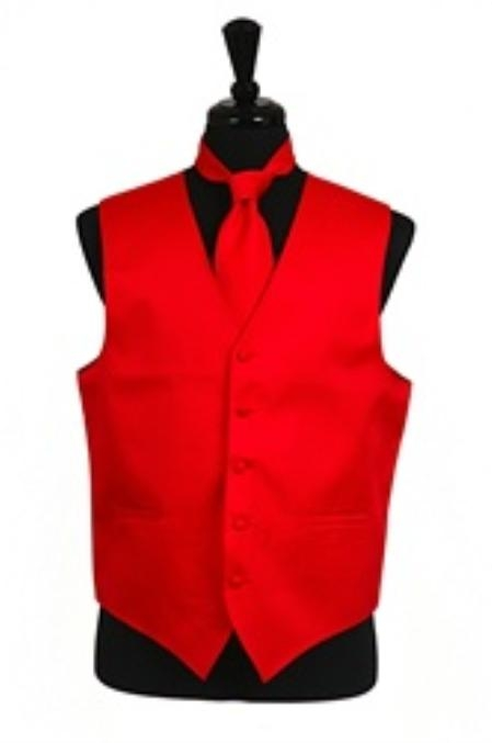 Horizontal Rib Pattern Vest Tie Set Red