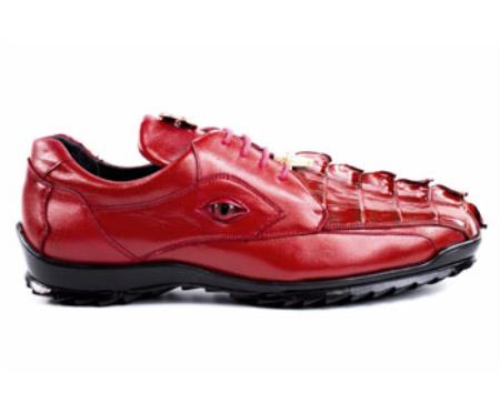 Authentic Belvedere Exotic Skin Brand Genuine Red Hornback Crocodile and Soft Calf Leather Lining Shoe
